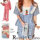 【送料無料】RomelCheo チェリー チェック パジャマ