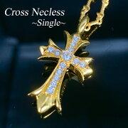 大人気ダブルジルコニアクロスネックレスゴールドベビーファット十字架