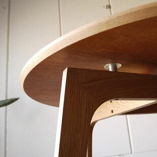・ファーブル円形105木製ダイニングテーブル・木製天板の丸型テーブル・直径φ105cm木製脚・北欧ミッドセンチュリーなオーガニックデザイン・ホテル高級・脚にオーク無垢材使用・モダンリビング円卓