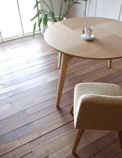 ・ファーブル円形105木製ダイニングテーブル・直径105cm木製天板・木製脚丸テーブルオーク材・北欧ミッドセンチュリーなオーガニックデザイン・無垢使用丸いカフェテーブル・モダンリビング円卓円形テーブル