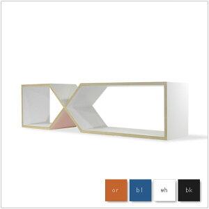 | DXDX | W139.4cm シェルフ プライウッド オレンジ/ブルー/ホワイト/ブラック abode* デ...