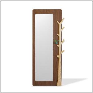 | tree-mirror | H150cm スタンドミラー ウォールナット突板 アッシュ無垢 かわいい小枝の...