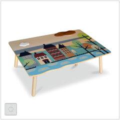 | isora | 120×75cm こたつ ビーチ突板 + wood print + 無垢PUT かわいい絵のテーブル ...