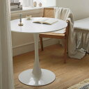BLANC ラウンドテーブル 丸テーブル カフェテーブル 幅80cm 高さ73cm 18mm厚さのMDF天板 円形テーブル 丈夫な鉄製フレーム DIY ホーム キッチン ダイニングテーブル