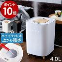 """▼ インテリアショップ roomy ( ルーミー )からのコメント ■ L's Humidifier / エルズ ヒュミディファイアー 4L 乾燥が気になる季節に毎日活躍してくれる加湿器は、お手入れのしやすさと使い勝手のよさが重要なポイント。『 L's Humidifier( エルズ ヒュミディファイアー ) 』は上部のフタを外して給水できるお手軽さが魅力。使用中でも注水できるので安心です。部品が簡単に取り外せ、しかも丸洗いできるので気になる汚れが楽にお掃除できるのも嬉しいポイント。加湿力の高いハイブリッド式( ハイブリッド式加湿器 / ハイブリッド加湿器 / ハイブリット式加湿器 / ハイブリット加湿器 )で、加湿量調整は3段階。水を入れるタンクは4Lの大容量で、強運転時でも11時間も連続使用ができます。タッチパネルの操作部は、見た目も使い勝手も◎。アロマ対応なので、お気に入りのアロマオイルやエッセンシャルオイルを使ってミストに香りをプラスすることもできます。ウッド調のフタや脚がアクセントになったナチュラルなデザインは、リビングやキッチン、子供部屋や寝室などどんなお部屋とも相性抜群。インテリアに溶け込みながら、体調管理にも一役買ってくれる頼れる加湿器です。バケツ型水タンク エレス elaice メーカー希望小売価格はメーカーサイトに基づいて掲載しています 出展:エレス株式会社ホームページ elaice.jpL's Humidifier / エルズ ヒュミディファイアー 4L """"豪華"""" 特典付き しっかり加湿してサッとお手入れ 『 L's Humidifier( エルズ ヒュミディファイアー )』は上部のフタを外して給水できるお手軽さが魅力のハイブリッド加湿器。部品が簡単に取り外せ、タンクの中に手が入るのでお手入れラクラク。オフタイマーやアロマ機能付きで、タンクは4Lの大容量と申し分のないパワフルさ。インテリアに溶け込みながらお部屋をしっかり潤す頼れる加湿器です。 季節・空調家電>加湿器 2019年10月13日(日)更新 (集計日:10月12日) コンパクトなのに大容量 給水&お手入れしやすいカタチ おしゃれで見やすいLED表示 サイズ 約 幅 206mm×奥行き 206mm×高さ 303mm 重さ 約 2.2kg コード長 約 1.5m 電源 AC100V 50/60Hz 消費電力 約 70W タンク容量 約 4L 加湿方式 ハイブリッド式 連続加湿時間 約 11時間( 加湿量最大時 ) 加湿量 最大:約 350ml ※1時間あたりの目安です。使用状況により異なります。 適用畳数 約 10畳 ※あくまで目安です。使用状況により異なります。 オフタイマー 2h/4h/6h 保証期間 メーカー保証1年 付属品 電源コード、アロマパッド×5( 1枚は本体に装着済 )、エアフィルター( 本体に装着済 )、抗菌カートリッジ( 本体に装着済 )、取扱説明書( 保証書含む ) 仕様変更となった旧モデルの主な項目 変更日:2019年9月23日 タンク容量:約 3.5L カラー:ホワイト、グレー 連続加湿時間:約 10時間( 加湿量最大時 ) その他:アロマパッド・エアフィルター取り付け位置とサイズ変更、フロート追加 ご注意 ※必ず常温の新しい水道水を使用してください。 ※アロマオイルなどの芳香剤を水タンクへ絶対に入れないでください。 ※本体は壁、寝具、カーテン、家具などから十分に距離をとって設置してください。 ※じゅうたんやラグなど毛足の長い布の上に置かないでください。 ※携帯電話やパソコンなどの電子機器や精密機器の近くで使用しないでください。 ※傾いた場所や棚などの高い場所、不安定な場所には置かないでください。 ※ミスト吹出口に指を入れたり、ふさいだりしないでください。 ※絶対に送風口側から排水しないでください。"""