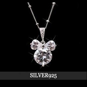 米奇鑽石項鍊項鍊一粒、 米奇吊墜、 鑽石項鍊、 銀項鍊、 鑽石項鍊、 銀 925 項鍊、 女士項鍊、 禮物、 禮品、 米奇吊墜
