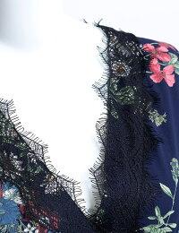【Springコレクション】ヴィンテージフラワーが彩るレースロングガウンワンピース|レースガウンワンピースラップワンピースドレスフレアロング丈5分袖リボンフラワープリント花柄レディース