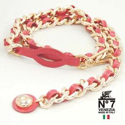 イタリア製レザーベルト/レディースチェーンレザーコンビベルトno7-s118-pinkピンクNO7ナンバーセブン【ランキング】【ファッション】【バックル】【革小物】【belt】【ブランド】15000
