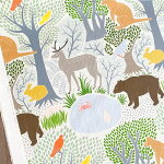 【50cm単位の切売り】forestプリント生地KAYOAOYAMA/デザイナーズファブリック/デジタルプリント/(kayoaoyama-forest)