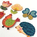 【ヨーロッパ製アップリケ】FLOWERS&ANIMALSはりねずみ/ちょうちょ/チューリップ/ニワトリ/小鳥/花/お花刺繍モチーフアップリケ/ワッペン(SM-16156)