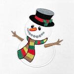 【大きめワッペン】【アイロン接着OK】雪だるま約9.9cm×8.6cm