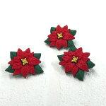 ポインセチアボタン【輸入ボタン】【足つきボタン】ChristmasCollection(SB16-Poinsettia)
