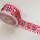 【ヨーロッパ製リボン】グログランリボンalamaison/PinkRoom/女の子/ネコのプリント柄約48mm幅