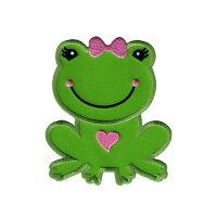 【大きめワッペン】カエル(ガール)約10cm×9cmアイロン接着OK(Frog-girl)