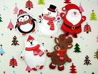 クリスマス(ペンギン、スノーマン、サンタクロース、シロクマ、トナカイ)【ヨーロッパ製アップリケ/ワッペン】1個単位での販売です。SM-15896U-Christmas