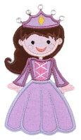 【大きめワッペン】プリンセスお姫様パープルストーン付約10cm×5.5cm(Princess-Purple)/アイロン接着OK