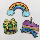 【ヨーロッパ製アップリケ】HAPPY/PARTYレインボー/プレゼント/ケーキモチーフアップリケ/ワッペン1個単位での販売です。