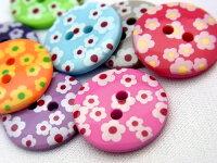 【ヨーロッパ製ボタン】小花柄フラワーボタン13mm1個単位での販売です。