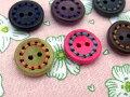 【ヨーロッパ製ボタン】ステッチ木ボタン15mm1個単位での販売です。