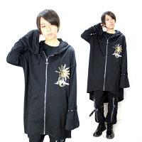 太陽と月†十字架ジップパーカーロング丈コート薄手燕尾形メンズレディースDrugHoney