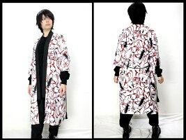 欺瞞の狐面†羽織ロングコート†薄手着物七分袖五分袖メンズレディース和柄和テイストDrugHoney