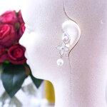 【送料無料】ホワイトパールクローバーフラワーチャーム可愛い耳栓ギフトプレゼント彼女誕生日かわいい耳栓