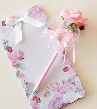 ボールペン薔薇雑貨ローズキラキラボールペン1輪かわいい・姫系雑貨・文具・ピンク・バラ雑貨・結婚式・プチギフト・フラワー