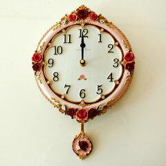 振子時計 アンティークローズ振子掛時計 薔薇雑貨姫系雑貨 カワイイ かわいい 花柄 ピンク おしゃれ