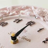 掛け時計ローズレリーフ/ピンク薔薇雑貨姫系雑貨インテリアかわいい花柄ピンクおしゃれクロック