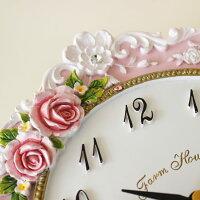 掛け時計ピンクローズ薔薇雑貨姫系インテリアかわいい花柄おしゃれクロック