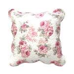 クッションカバールーシーローズキルト45×45cm薔薇雑貨姫系ファブリック花柄キルティングおしゃれかわいい