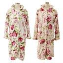 プレゼント ロングフリルガウン ローズ柄 ギフト 薔薇 花柄 あったか 柔らか ナイトガウン ルームウエア 羽織 ふわふわ かわいい おしゃれ 毛布 ロング エレガント 1