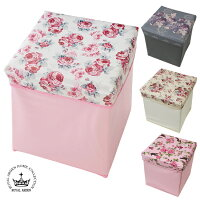 収納スツール薔薇バラローズエレガントインテリアフタ付き椅子イス正方形スクエア