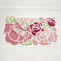 ローズマット玄関マットトイレマットルーム室内インテリアマットフロアーかわいい花柄バラ