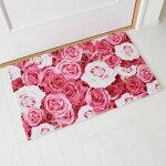 玄関マットピンクローズ50×80cmインテリアマットフラワープリントかわいい花柄バラ