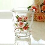 ローズヴィーナスガラスタンブラー・イタリアーノ/日本製薔薇雑貨姫系雑貨食器花柄