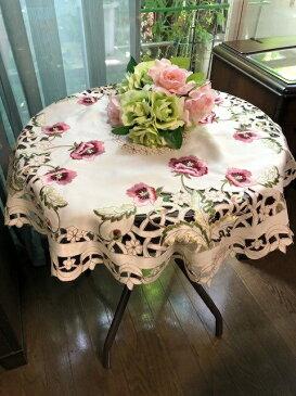 薔薇の カットワーク刺繍テーブルクロス 円形  85cm #299