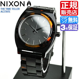 NIXON WATCH NA3271061-00 TIME TELLER ACETATE MTBLACK/DARKTORTOISE