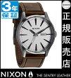 ニクソン 腕時計 送料無料 [正規3年保証] A1051113 ニクソン セントリー レザー レディース NIXON 時計 NIXON SENTRY LEATHER SILVER/BROWN メンズ nixon 父の日