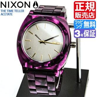 NIXON WATCH NA3271345-00 TIME TELLER ACETATE GUNMETAL/VELVET