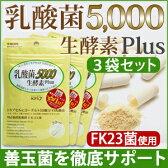 ≪定期購入・送料無料≫【お得な3個セット/1個あたり\2,592】【乳酸菌5,000 生酵素plus(30カプセル入)】あなたの善玉菌を育てて増やす、乳酸菌&生酵素サプリ。1袋に15兆個の乳酸菌(FK-23)【送料無料!(クロネコDM便)】