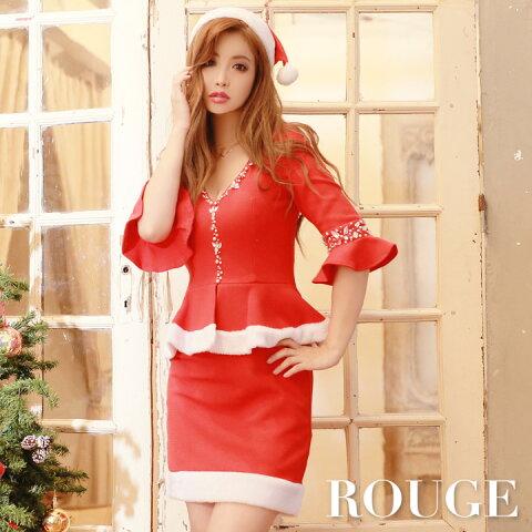 2a6caa0e27380  あす楽 クリスマス レッド サンタ コスチューム サンタコス コスプレ X mas サンタクロース レディース ドレス キャバドレス ROUGE