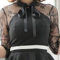 キャバドレス大きいサイズ小さいサイズドレスミニxssmlサイズワンピースレースタイトノースリーブレースリボンオーガンジーピンクブルー【ROUGE|ルージュ】あす楽ミニドレス4140YNdz-2002-1[OF09]