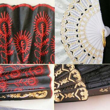 B級品 刺繍レース扇子/金柄骨クジャク尾(刺繍センス踊り扇子)【中国扇子】 rouishin1102