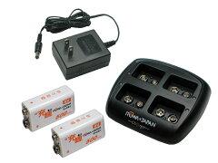 ●定形外送料無料●新品9V リチウムイオン充電池専用充電器と9V(Li-ion)充電池2本のセット