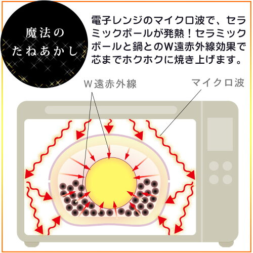 【送料無料】【焼きいも器焼きいも鍋さつまいも1本用やきいも陶器電子レンジ専用発熱セラミックボール】『レンジで簡単調理魔法の焼きいも鍋小』カンタン便利手作りおやつ(B884)