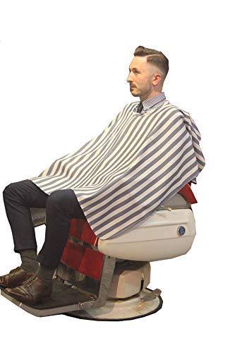 シェービングクロス《ボーダーグレーSVW101:厚手》理容室 美容室 床屋 BARBER お洒落 刈布 シンプル マジックテープ ケープ 散髪用 かっこいい プロ 業務用 バーバー 顔そり 髭剃り