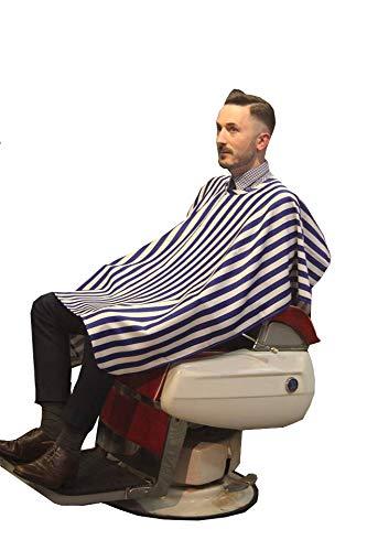 シェービングクロス《ボーダーネイビーSVW102:厚手》理容室 美容室 床屋 BARBER お洒落 刈布 シンプル マジックテープ ケープ 散髪用 かっこいい プロ 業務用 バーバー 顔そり 髭剃り