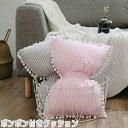 INS北欧風 リボン型 クラウン型 クッション ミニ ポンポン付き リボンクッション 枕 可愛い 大人 姫系 女の子 インスタ映え ピンク グレー インテリア レディース