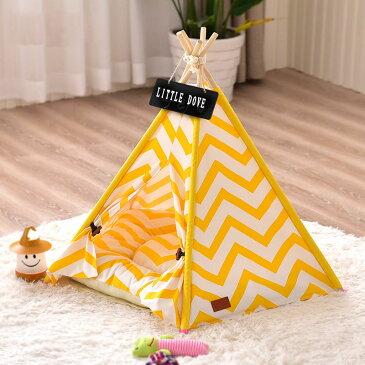 Lサイズ テント ペット ペットテント ティピーテントペットハウスドッグハウス キャットハウス 犬 猫 小屋 簡易テント 室内 室内テント おもちゃ プレゼント 秘密基地 無地 ナチュラル